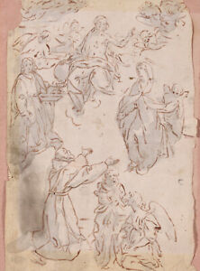 2 x 17th CENTURY ITALIAN FLEMISH OLD MASTER DRAWINGS PAPER - RELIGIOUS SUBJECTS
