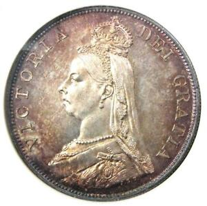 1887 Great Britain England Victoria Double Florin 4S Coin - NGC MS63 (BU UNC)