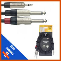 """Stagg 3m Y Lead Cable 3.5mm Stereo Jack to 2x 1/4"""" Mono Jack - Stagg"""