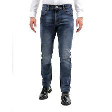 Pantalone Uomo Jeans Cinque Tasche Invernale Chino Slim Fit Pantaloni Denim Blu