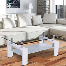 CORIUM TABLE BASSE EN VERRE BLANC D'APPOINT SALON HAUTE BRILLANCE