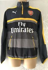 ARSENAL FC GREY & YELLOW TRAINING TOP TRACK TOP DRY CELL PUMA FLY EMIRATES UK S