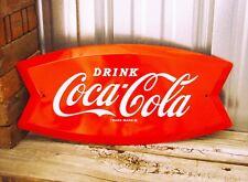 Coca-Cola Coke Fishtail Fish Tail Logo 19 Embossed Metal Tin Sign Vintage Garage