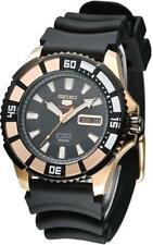 Seiko 5 Sports Automatic SRP210 SRP210K1 Men Black Dial Rose Gold 100m Watch