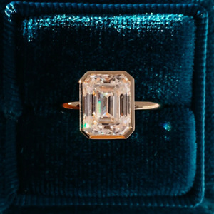 3.17 Ct MoissaniteEmerald Cut Brilliant Moissanite Engagement Ring 14k rose Gold