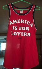 Victoria's Secret PINK Rib Neck Muscle Tank AMERICA IS FOR LOVERS  Medium NWT