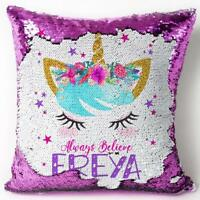 Unicorn Sequin Cushion Reveal Magic Cover Personalised Girls Christmas Gift KC55