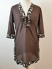 Women's Brown Cotton & Silk 3/4 Sleeve Kaftan by Jaeger. Size 8. Small