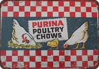 """Purina Poultry Chows Vintage Rustic Retro Metal Sign 8"""" x 12"""""""