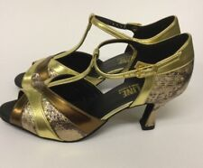 "Topline EMILY Ballroom & Latin Shoes - Python & Gold with 2.5"" heel - Size 7.5"