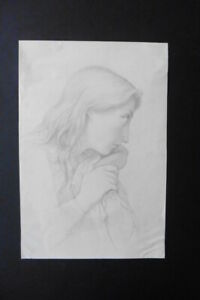 FRENCH SCHOOL 19thC - SUBTILE PORTRAIT OF A YOUNG WOMAN - PENCIL DRAWING