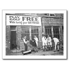 """~Post Card~""""Men Play Golf Free"""" ...and While Having Their Suit Pressed/ (B348)"""