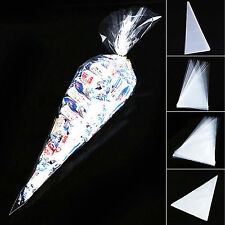 100pcs Clear Cone Shaped Cellophane Bags Party Cake Candy Flower Packing CQ1521