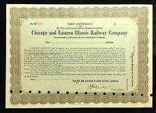 New listing Chicago & Eastern Illinois Railway Company Certificate 6% Cumulative Pref Stock