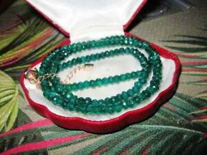 Beautiful 4mm faceted natural green emerald necklace rosegold clasp