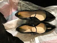 "Shoes, FRANCO SARTO, black patent, pointed toe strap with buckle, 3"" wedge, 9M"