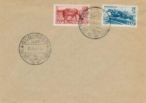 1949 SAAR TAG DES PFERDES HORSES DAY SARRE FRANCE GERMANY FDC - High Cat Value