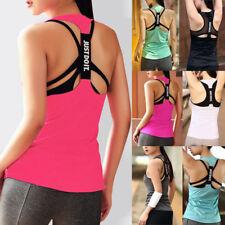 Womens Sports Gym Racer Back Running Vest Fitness Jogging Yoga Singlet Top UK