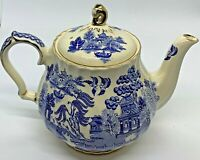 Exquisite VINTAGE Sadler Blue Willow Tea Pot