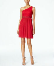 Adrianna Papell Cocktail Dress Red One shoulder Lace PROM Stretch Size 6