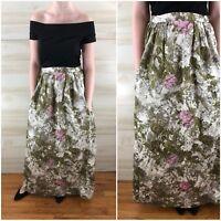 Vintage 60s Ivory Green Floral Pockets Cotton Maxi Skirt Hippie Boho M