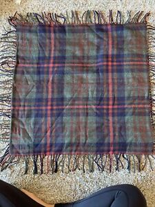 """RALPH Ralph Lauren PLAID WOOL pillow cover 28"""" square with fringe BEAUTIFUL"""