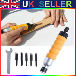 Electric Wood Carving Engraving Hand Chisel Tools Wrench & 5 Chisels Set