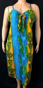 * Women's blue yellow abstract sleeveless back zipper front bow plus dress 2X