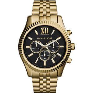 Michael Kors Lexington Gold-Tone Chronograph Stainless Steel Watch MK8286