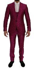 NEW $4800 DOLCE & GABBANA Suit 3 Piece Slim fit Pink Jacquard s. EU56 / US46/XXL
