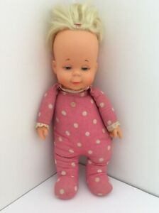 Vintage 1964 Mattel DROWSY DOLL *Original Polka Dot Pink *Pull String Attached