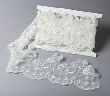 """Ivory Embroidered Organza Beaded w/Sequins 6"""" Wide Bridal Trim By the Yard #208"""