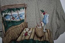 TORI RICHARD Hawaiian Hawaii Aloha LARGE Shirt Hammock Coconut Drink Palm Bamboo