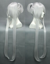 """36"""" Straight Silver White BRAVE10 Date Masamune Cospaly Wig + Single Ponytail"""