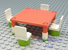 Lego City Minifig Peach TABLE & CHAIRS - Gr8 4 Friends Minifigure Kitchen Food