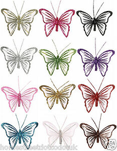 Single Small 9cm Glitter Mesh Clip On Butterflies Butterfly Colourful Decoration