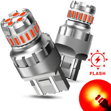 AUXITO 7443 7440 LED Red Strobe Brake Stop Tail Parking Light Bulb W21W Flash FS