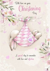 With Love on Your Christening Day Greeting Card Girl Pink Baby Rabbit & Glitter