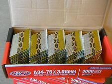 34 DEGREE SENCO PASLODE 3.06x75mm GALVANISED FRAMING STRIP NAILS 3000 BOX