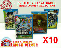 10X NINTENDO Wii U CIB GAME -CLEAR PLASTIC PROTECTIVE BOX PROTECTORS SLEEVE CASE