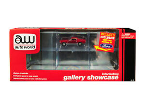6 Car Interlocking Acrylic Display Show Case with 1967 Ford Mustang GT Red for 1