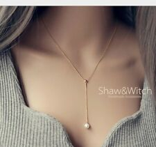 Rose Gold Silver Stainless Steel Minimalist Pearl Drop Y Lariat Necklace Box PE6