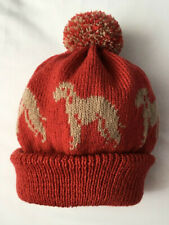 More details for bedlington terrier new knitted on adult size hat. rust with brown dog