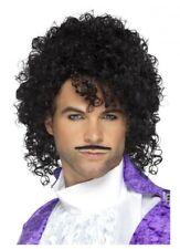 Prince Wig and Moustache Purple Rain Fancy Dress Costume 80's Musician Singer