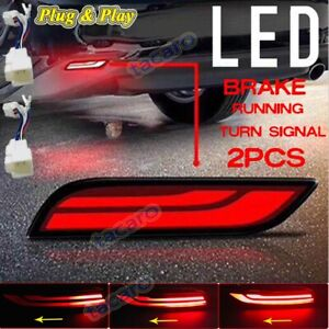 For Toyota Camry 2018 2019 Red LED Bumper Brake Lights w/ Sequential Turn Signal