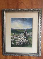 "19th c Original Watercolor Landscape Pasture Farm Sheep Shepherd Unsigned 22x19"""