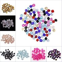 100pcs 4*3mm Bicone Faceted Glass Crystal Loose Spacer Beads for DIY 14 colors