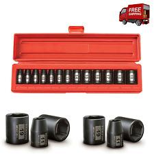"TEKTON 3/8"" Inch Drive 6 Point Shallow Impact Socket Set Cr-V Metric 7-19mm 13Pc"
