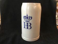 Vintage ~ Hb Hofbrauhaus Munchen Crown Gray Stoneware West Germany Beer Stein 1L