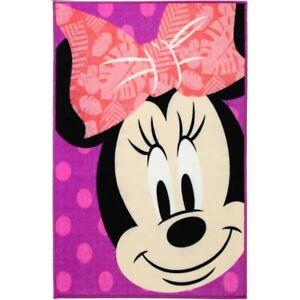 Disney Minnie mouse smilling pink - Bedroom Non-slip Kids girls Rug 100x150cm